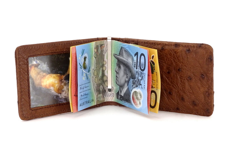 Billfold - Daryle - Brown ostrich leather, ostrich lining man's small wallet showing notes being held by handmade money clip