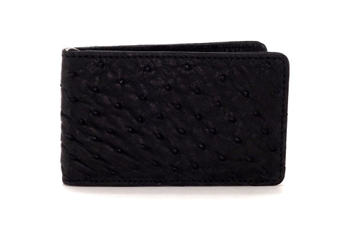 Bill fold - Daryle - Black Ostrich small men's wallet - front view