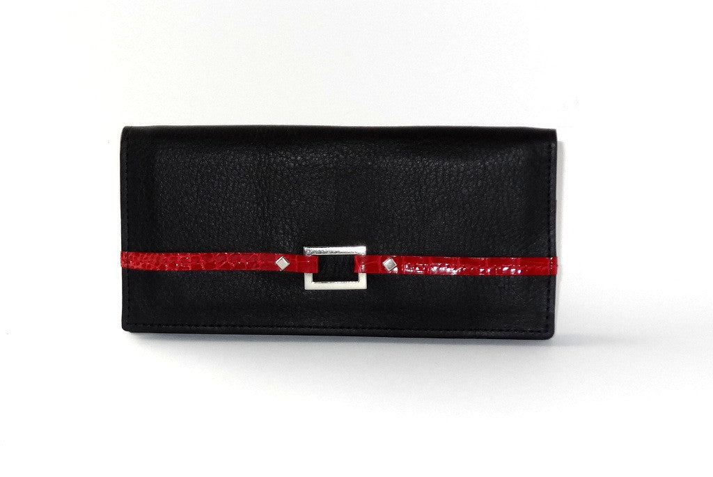 Caitlin  Black leather with red accents ladies purse front view