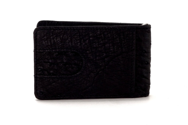 Bill fold - Daryle - Black Ostrich small men's wallet - showing back pocket view