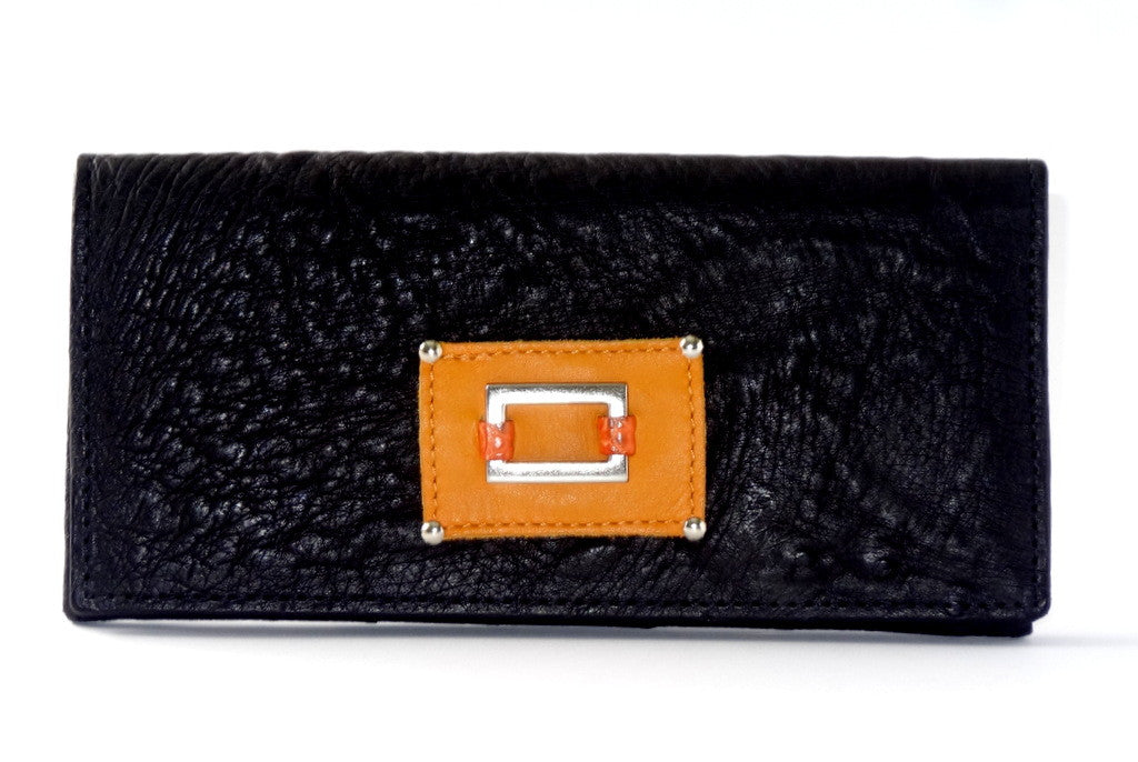 Caitlin  Black ostrich mango & orange detail ladies purse front outside view