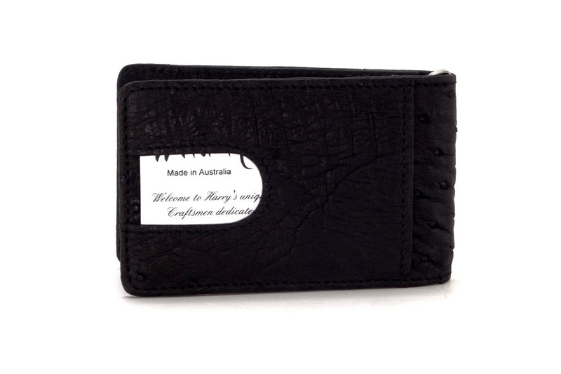Bill fold - Daryle - Black Ostrich small men's wallet - showing the back pocket view with card installed