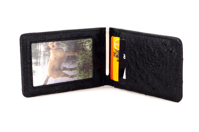Bill fold - Daryle - Black Ostrich small men's wallet - showing the inside view with picture in picture window & cards in the card pockets