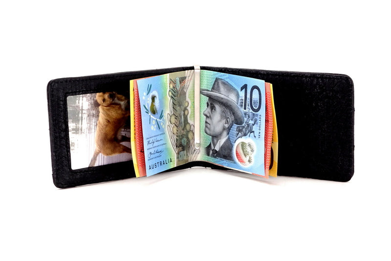 Bill fold - Daryle - Black Ostrich small men's wallet  showing the inside view with the money clip full of notes
