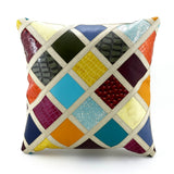 Cushion Covers Leather patchwork front leather back