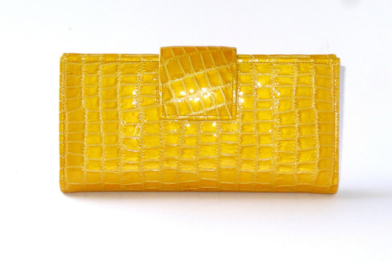 Yellow foil leather large ladies clutch purse front tab