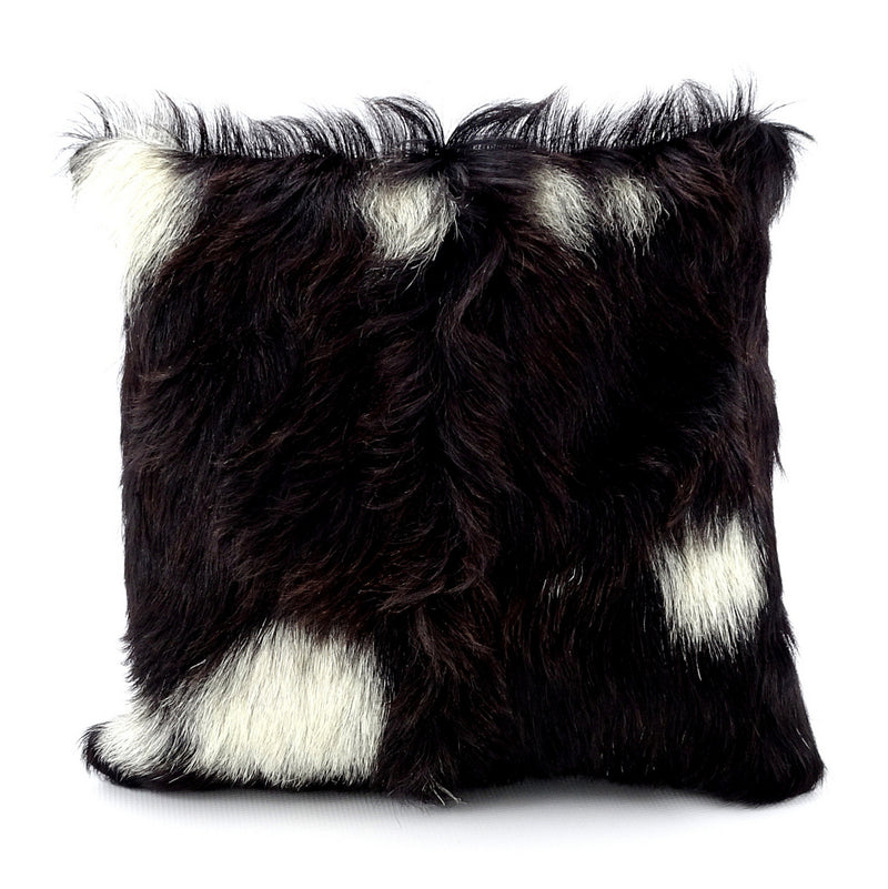 Cushion covers Leather Goat hair on hide front leather back front view