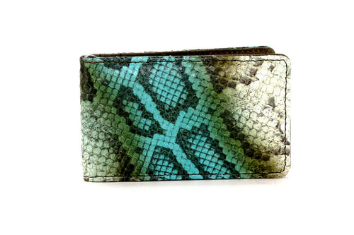 Bill fold - Daryle - Blue & olive printed leather man's small wallet showing front view