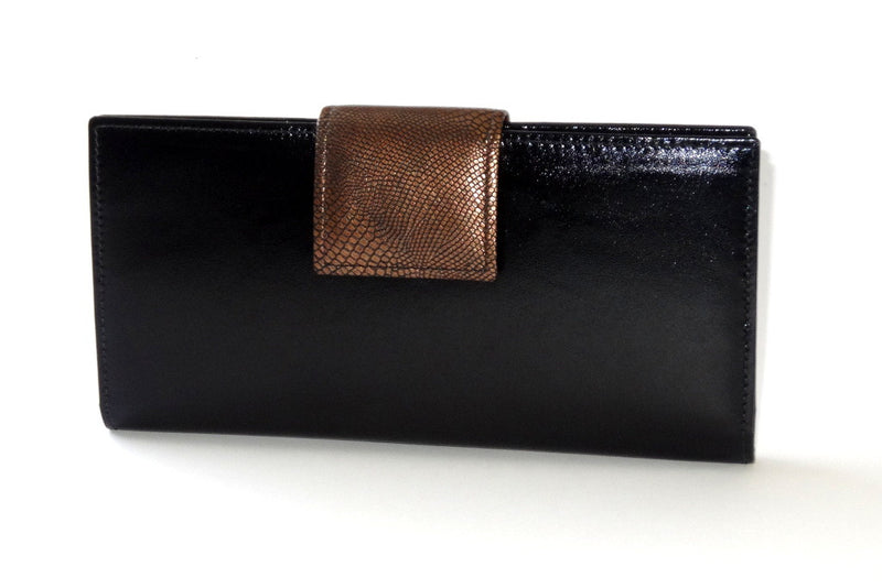 Black leather copper kangaroo tab large ladies purse front tab