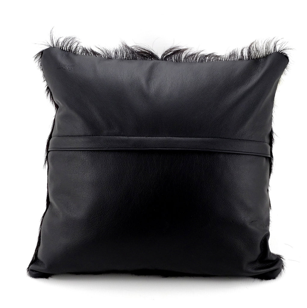 Cushion covers Leather Goat hair on hide front leather back