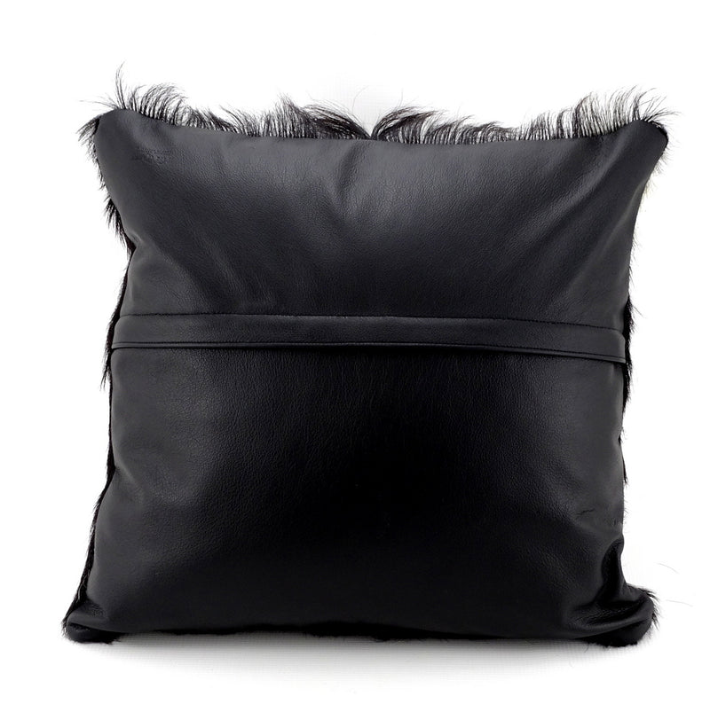 Cushion covers Leather Goat hair on hide front leather back back view