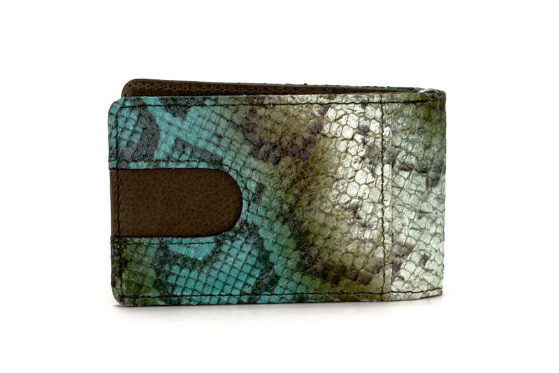 Bill fold - Daryle - Blue & olive printed leather man's small wallet showing back pocket