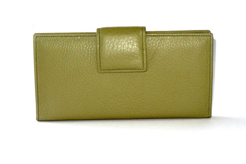 Pale olive green leather large ladies purse front tab