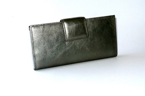 Metallic greenish silver kangaroo skin large ladies purse front tab