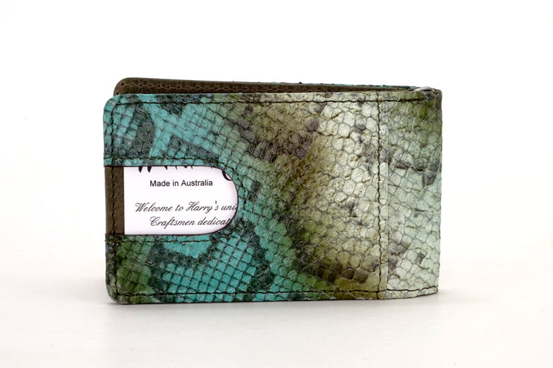Bill fold - Daryle - Blue & olive printed leather man's small wallet showing business card in back pocket