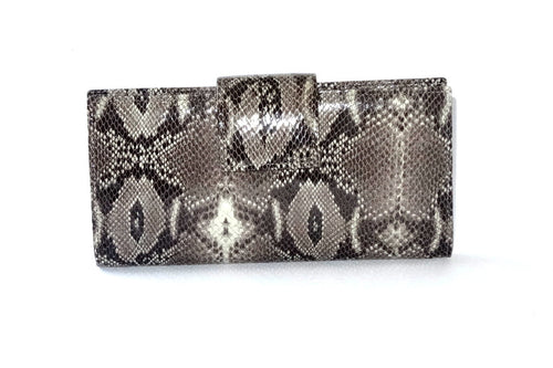 Grey snake print leather large ladies purse front tab