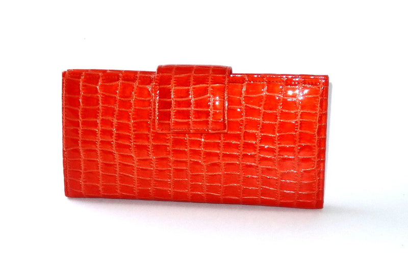 Willow  Orange foil leather orange internal large ladies purse front tab