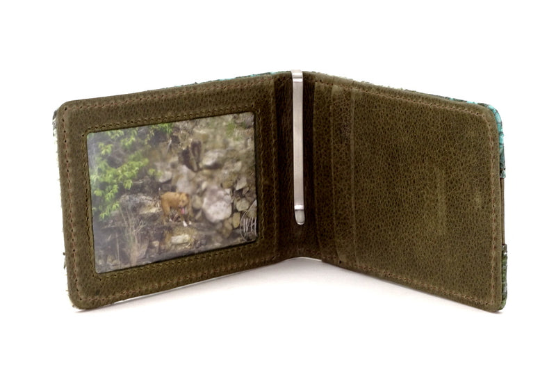 Bill fold - Daryle - Blue & olive printed leather man's small wallet showing inside with picture window, 3 card pockets & brushed stainless steel handmade money clip