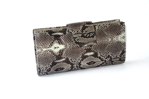 Grey snake print leather nutmeg inside large ladies purse front tab