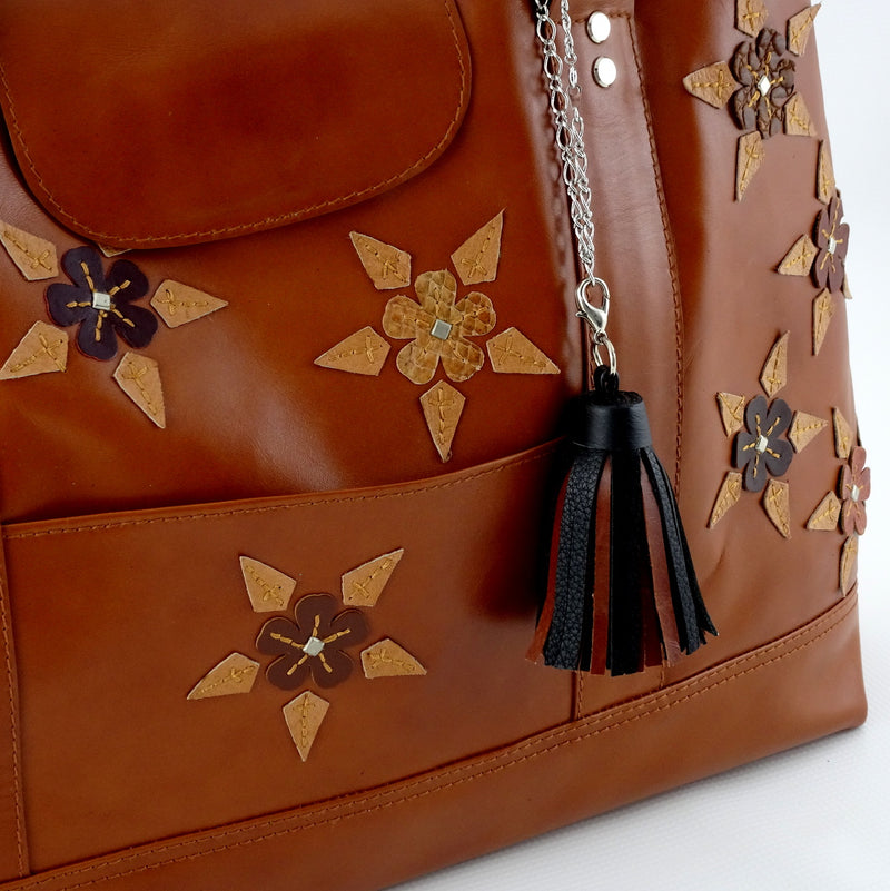 Felicity  Tan leather with star & stud detail tassel large tote bag tassel and flower details