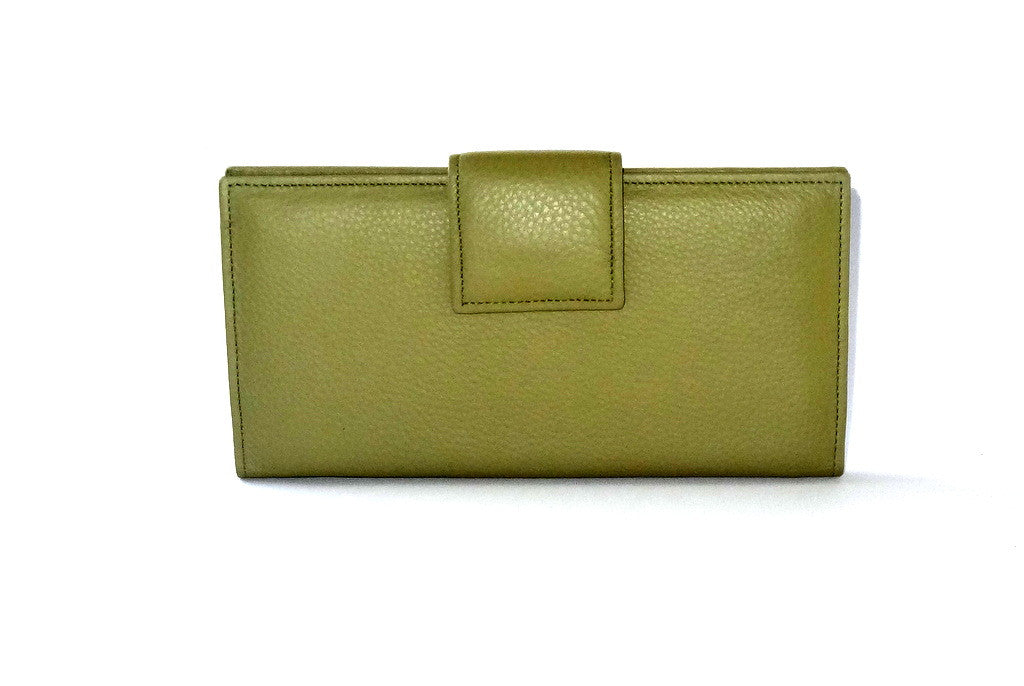 olive green leather snake print inside large ladies purse front tab