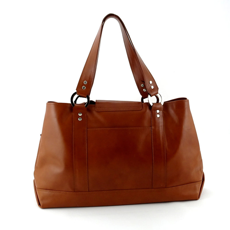 Felicity  Tan leather with star & stud detail tassel large tote bag back handles up