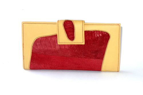 Lemon leather rojo ostrich leg large ladies purse front tab