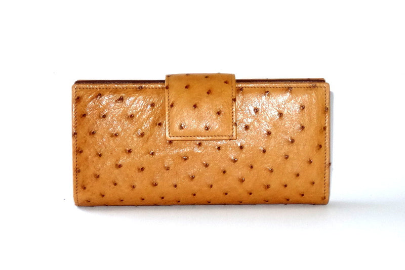 Tan ostrich skin leather large ladies clutch purse front tab