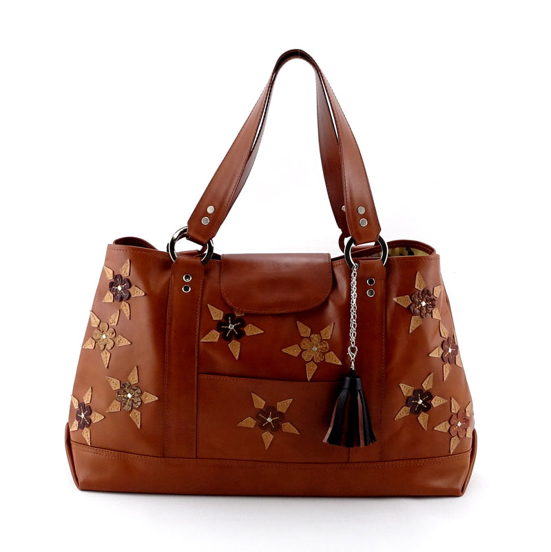 Felicity  Tan leather with star & stud detail tassel large tote bag front handles up