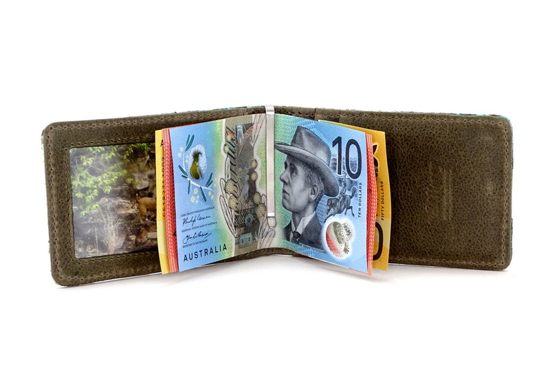Bill fold - Daryle - Blue & olive printed leather man's small wallet showing notes being held by money clip