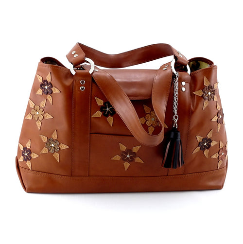 Felicity  Tan leather with star & stud detail tassel large tote bag front handles down