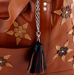 Felicity  Tan leather with star & stud detail tassel large tote bag star and tassel details