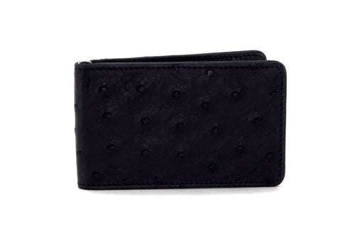 Bill fold - Daryle - Black Ostrich small men's wallet leather lining showing front view