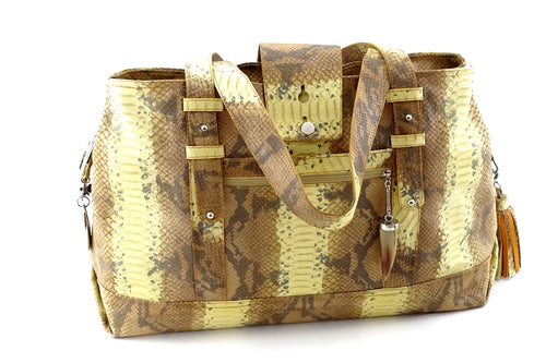 Felicity  Yellow and brown snake print leather large tote bag front handles down