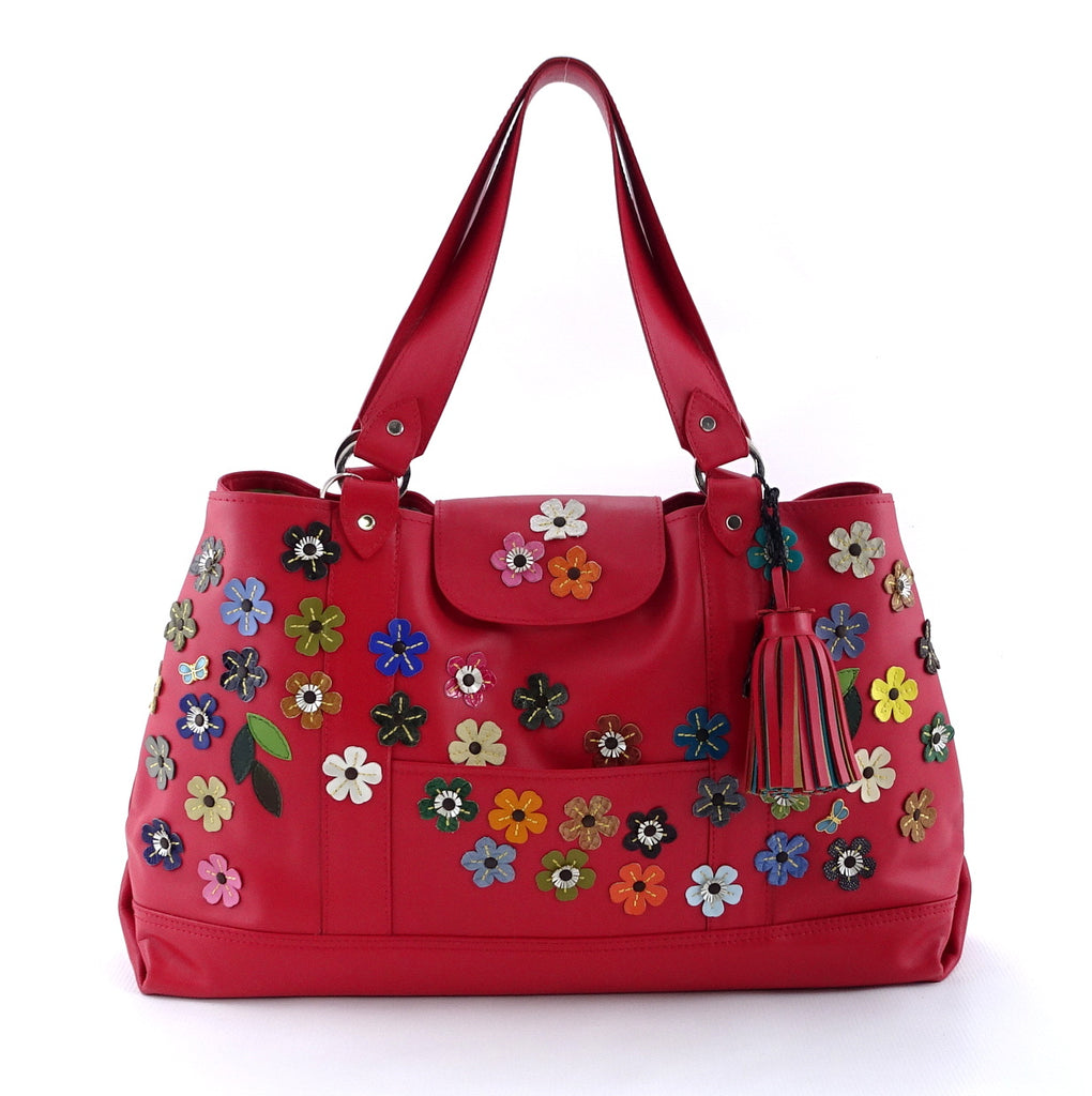 Felicity  Rojo leather flower detail tassel large tote bag front handles up