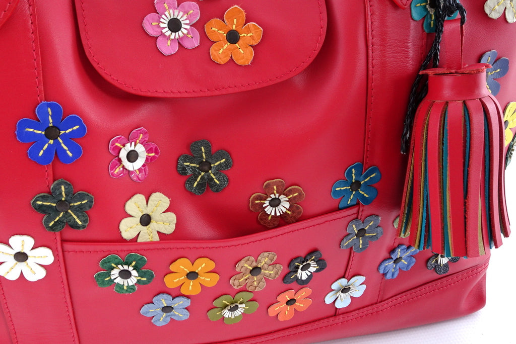 Felicity  Rojo leather flower detail tassel large tote bag tassel detail