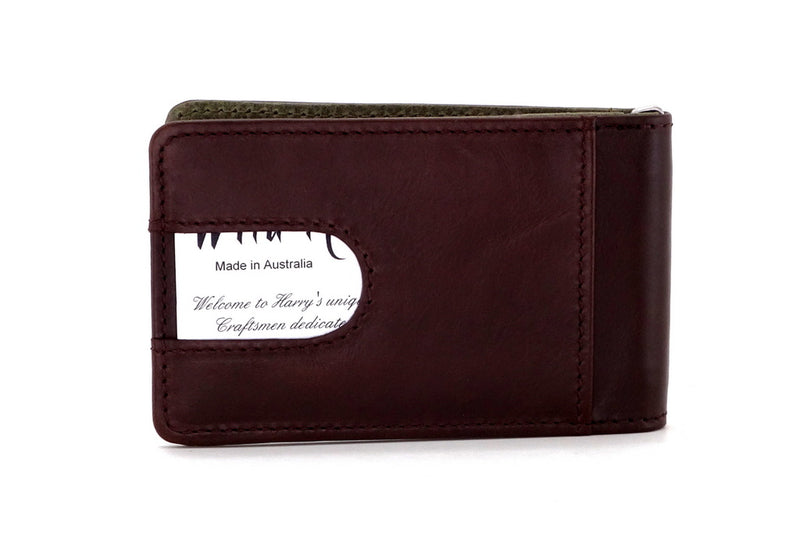 Bill fold - Daryle - Dark brown leather man's small wallet sage lining showing back pocket with business card in