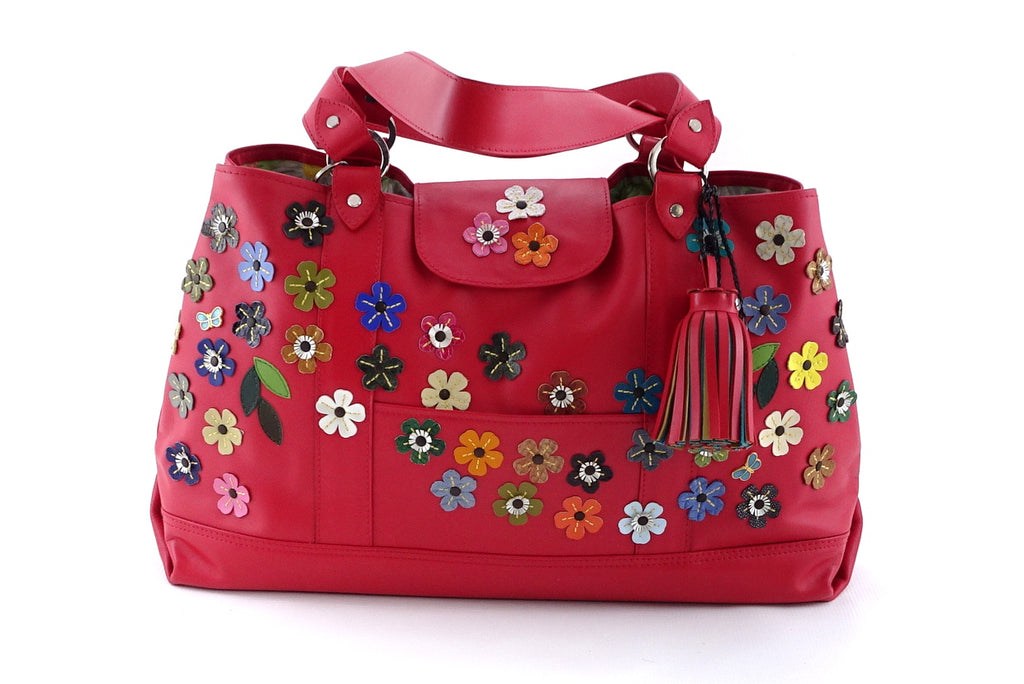 Felicity  Rojo leather flower detail tassel large tote bag front handles down