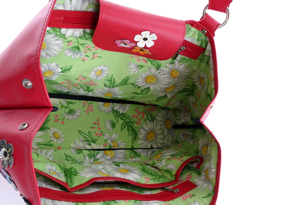 Felicity  Rojo leather flower detail tassel large tote bag tab and inside fabric