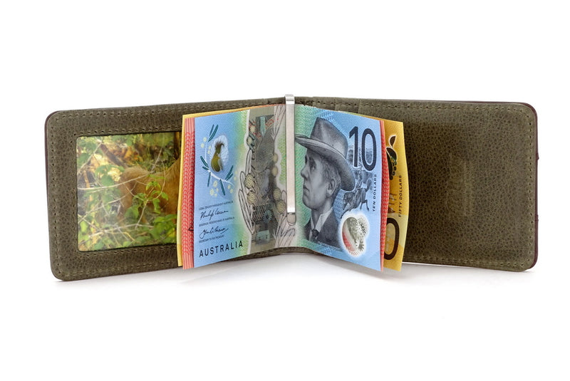 Bill fold - Daryle - Dark brown leather man's small wallet sage lining showing notes being held by the money clip