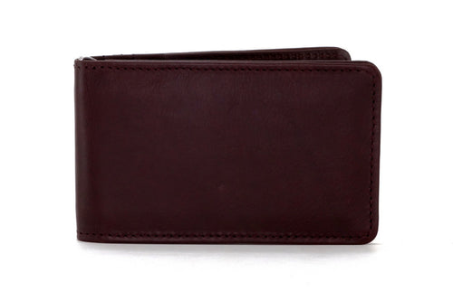Bill fold - Daryle - Dark brown leather man's small wallet showing front view