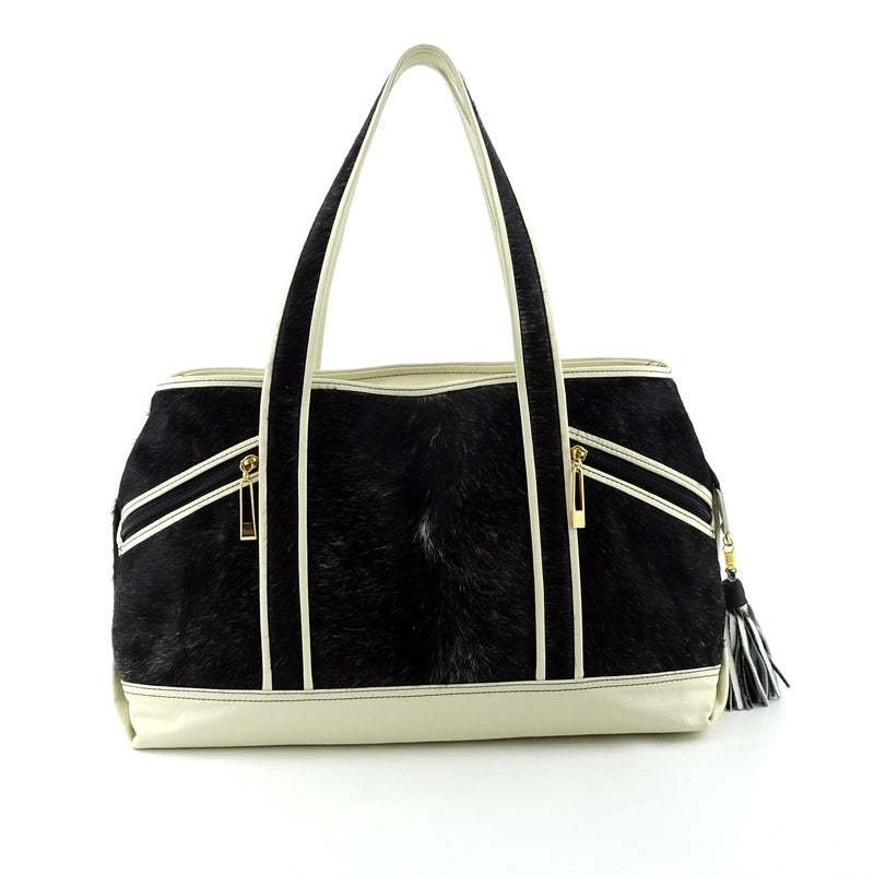 Felicity  Hair on cow hide black & white white leather large tote bag front handles up