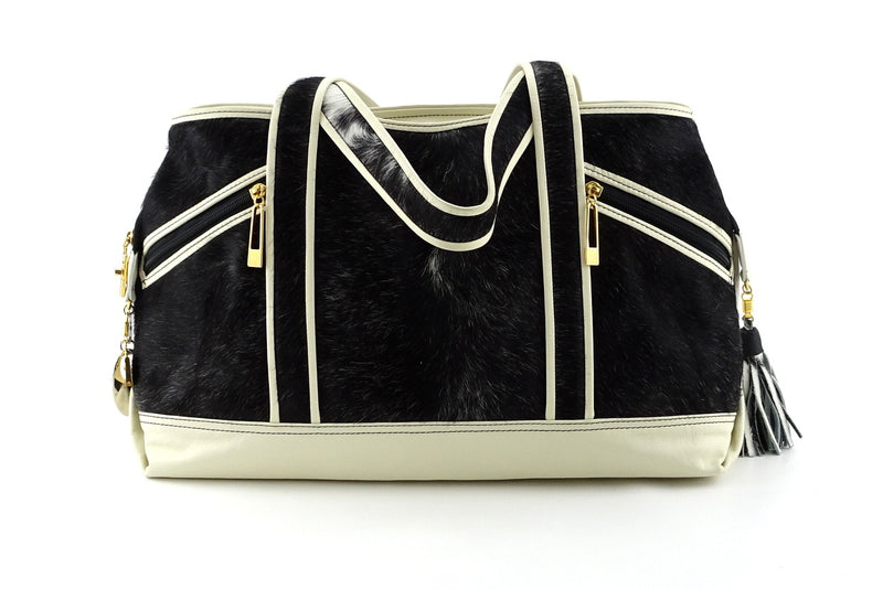 Felicity  Hair on cow hide black & white white leather large tote bag front handles down