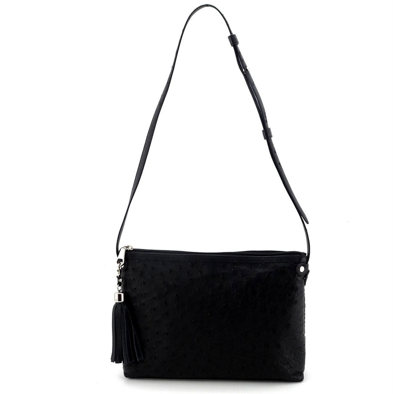 Rosie Black ostrich small tote bag leather lined handle drop front view