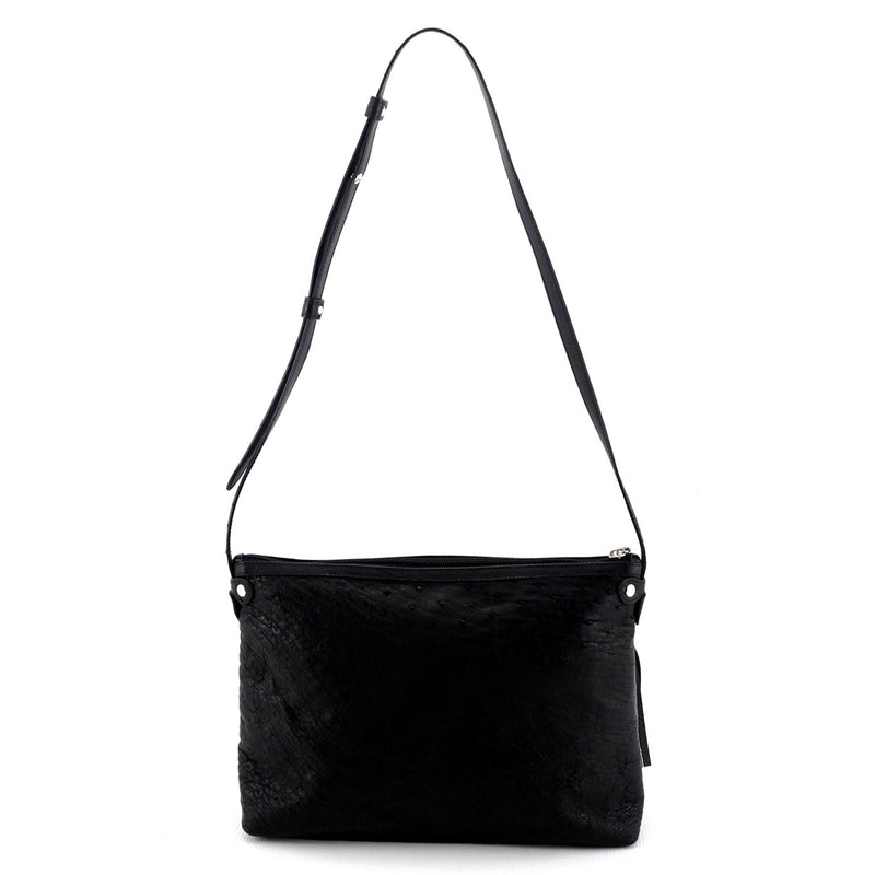 Rosie Black ostrich small tote bag leather lined