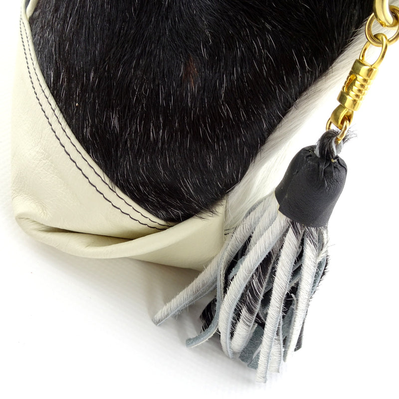Felicity  Hair on cow hide black & white white leather large tote bag zip end tassel