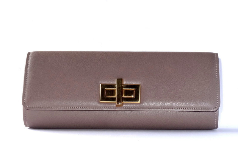 Meredith  Grape leather oversized clasp ladies clutch bag front