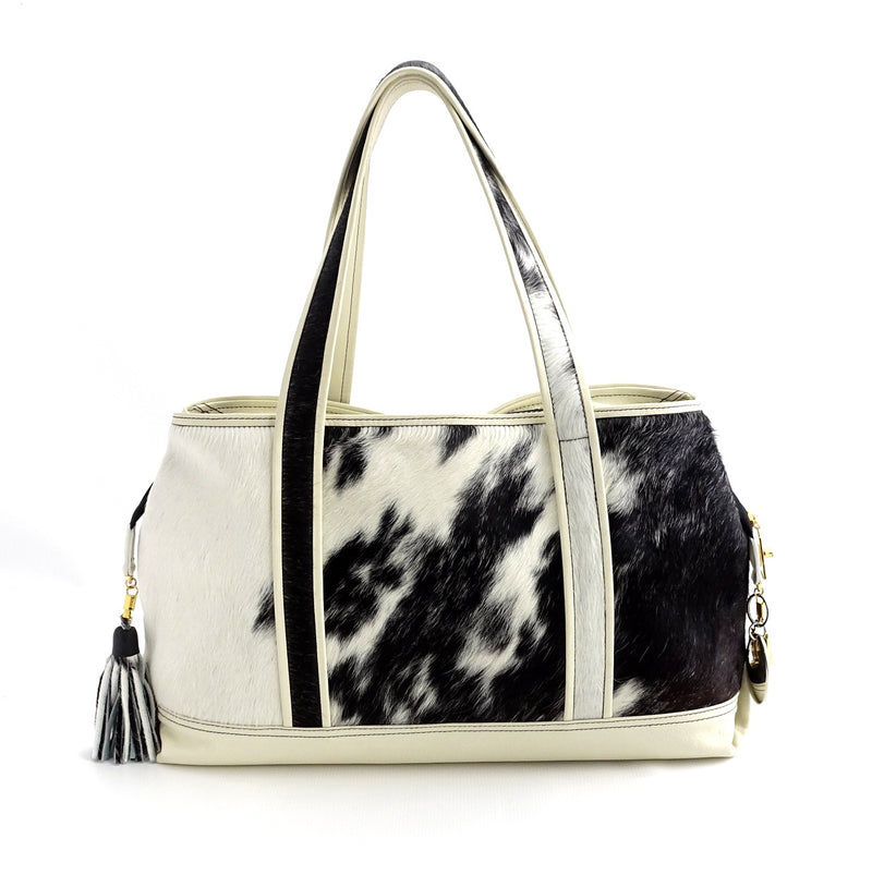 Felicity  Hair on cow hide black & white white leather large tote bag back handles up