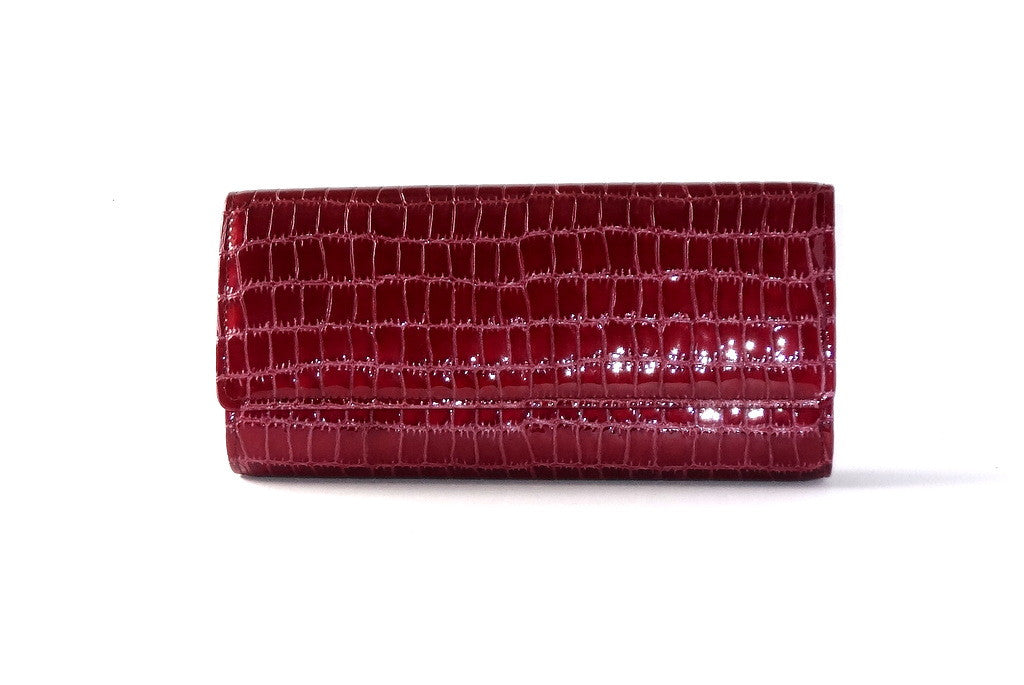 Leah  Cherry foil Leather ladies clutch bag front