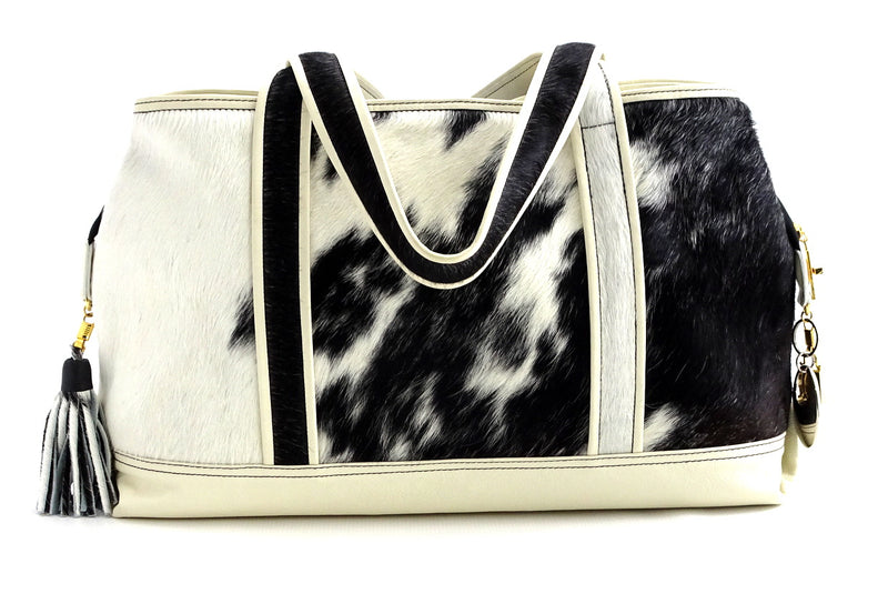 Felicity  Hair on cow hide black & white white leather large tote bag back handles down